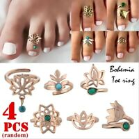 4Pcs Fashion Beach Foot Toe Ring Open Adjustable Vintage Gold Silver Jewelry