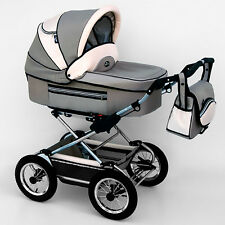 Classic Pram 11 Stroller Pushchair for Baby 2 in 1 Travel System Pumped Wheels