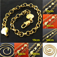 Necklace Bracelet Anklet Real 18k Yellow G/F Gold Solid Snake Box Belcher Link