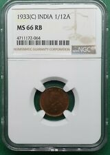 1933(C) BRITISH INDIA GEORGE V KING 1/12 ANNA COPPER  NGC MS 66 RB