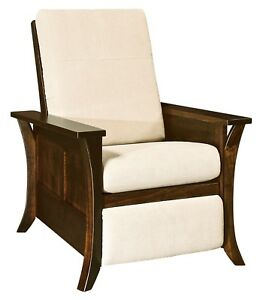 Amish Modern Upholstered Recliner Chair Solid Wood Back Surround Caledonia