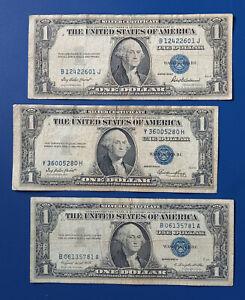 Lot de billets 3 x 1$ dollars Américain, USA 1935/1957 (usagés)