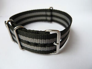 QUALITY BOND STRIPED CANVAS WATCH STRAP/BAND FOR OMEGA SEAMASTER 300,SPEEDMASTER