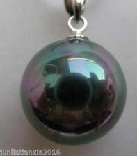 Pearl Pendant Necklace 17'' Charming!14mm Black +Ab Sea Shell