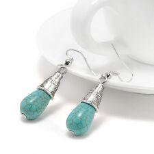 New Jewelry Women Blue Turquoise &Sterling Silver Drop Dangle Earrings E7