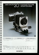 Factory 1978 Olympus Zuiko Macro 20mm F3.5 Camera Lens Dealer Data Sheet Page