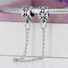 Flower Safety Chain European Chain Charm With Pink Gift Pouch - Silver Tone