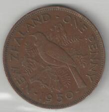 NEW ZEALAND,  1950,  PENNY,  BRONZE,  KM#21,  EXTRA FINE   (002)