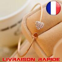 Bracelet double coeur strass manchette mode réglable femme idée cadeau bijoux