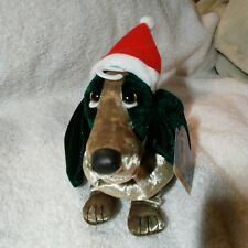Applause Hush Puppies Dark EverGreen Velvet X'MAS Hound Dog Beanie Dachshund #4