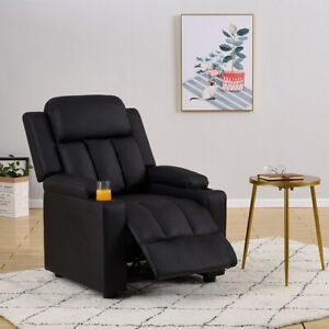 Black Faux Leather Recliner Armchair Sofa Chair Gaming Lounger w 2 Drink Holders