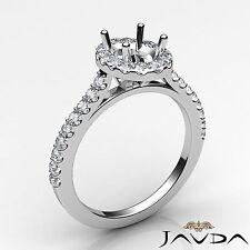 Oval Semi Mount Diamond Engagement Halo U Cut Prong Ring 18k White Gold 0.5Ct