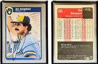 Ed Romero Signed 1985 Fleer #593 Card Milwaukee Brewers Auto Autograph