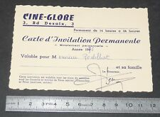 CARTE D'INVITATION PERMANENTE 1975 CINE-GLOBE CLERMONT FERRAND CINEMA