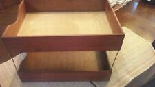 Vintage Wood Double Desk Tray Office In Out Box Paper File Organizer Dovetail
