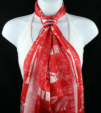 Musical Instruments Womens Scarf Red Musician Gift Scarfs Music Scarves New
