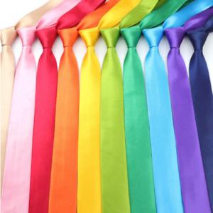 Skinny mens wedding event prom party plain Satin necktie tie UK rainbow