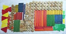 Vintage Mixed Huge Lot Of 325 Good Used Wood & Plastic Tinkertoys Tinker Toys