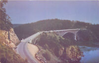 Chrome WA Postcard C714 Deception Pass Bridge Puget Sound Washington Vacation