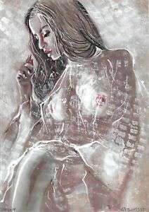 original painting A4 699UV art samovar Mixed Media female nude