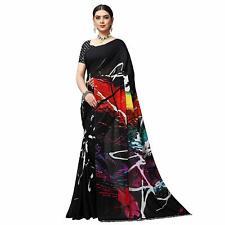 Black Printed Designer Bollywood Saree Party Wear Indian Pakistani Sari