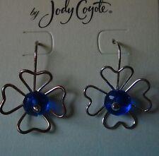 Jody Coyote Earrings JC0564 new flower blue silver hypoallergenic dangle