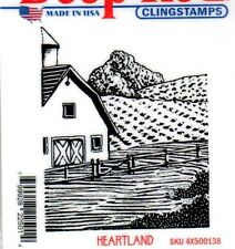 New CLING deep Red Rubber Stamp Heartland landscape barn field farm Free usa shp