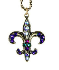 NEW ANNE KOPLIK ART NOUVEAU FLEUR DE LIS  SWAROVSKI CRYSTAL NECKLACE ~USA MADE~