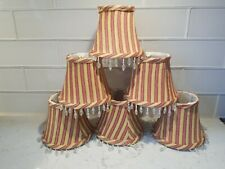6 Mini Lampshades Chandelier Lamp Shades Red Tan Striped Beaded Tassels