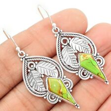 Copper Green Turquoise 925 Sterling Silver Earrings Jewelry SE89004