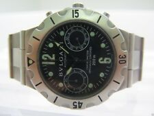 Pre-owned Mens Bvlgari Bulgari Watch Steel Scuba Diagono SC 38 S Chronograph