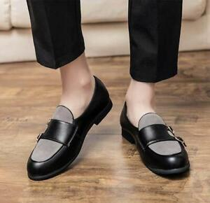 Splicing Monk Strap Dress Loafers Casual Formal Shoe Elegant Simple Oxfords Mens