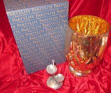 Neu! PartyLite Windlichtglas Silber & Gold Glanz P92615 + PartyLite Teelicht