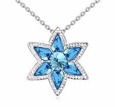 18K Gold GP Swarovski Element Crystal Star Flower Pendant Necklace Blue