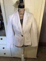 NEXT Ladies Ivory Pinstripe Linen Blend Smart Tailored Blazer Jacket Size 12