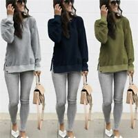 Crew Neck Womens Casual Shirt Top Loose Blouse Ladies Long Sleeve Pullover