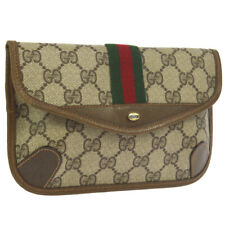 GUCCI Shelly Line GG Clutch Hand Bag Pouch Brown PVC Vintage Authentic AK38500