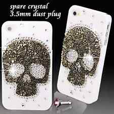 COOL LUXURY 3D Bling TESCHIO DIAMANTE protettiva bianco case cover per iPhone 4 4S