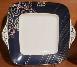 Wedgwood RENAISSANCE BLUE Square Handled Cake plate, Bone China, Excellent