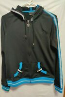 Bcbg Max Azria Black Track Jacket Woman's Size M Spellout Bling Hood Athletic