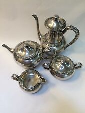 Vtg Wilcox Silver Co New Beverly Manor Coffee Server Teapot Creamer Sugar Bowl