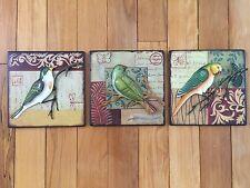 3D Sculpted Metal Bird Wall Art Botanical Birds Nature Bird Lovers Wall Decor