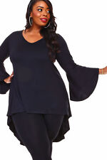 Womens BLACK Size 4X High Low Bell Sleeves Asym Top WearOrGoBare