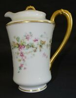 Haviland Limoges France Chocolate Pot -Floral w/ Heavy Gold on Handle