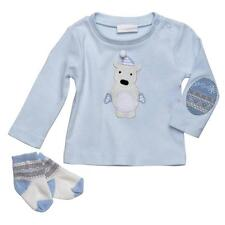 Elegant Baby Winterland Boy Blue Bear Applique Top Socks Box Gift Set 3M 6M New