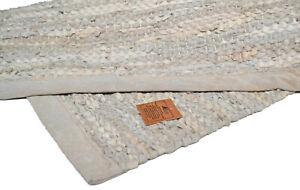 Cream Leather Chindi Runner Rug Handmade Recycled 90x60cm 3x2 Hemmed Pastel