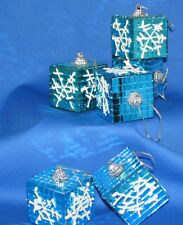 Turquoise Shiny Small Mirror Squares Snowflake Hanging Ornaments Set Of 6 NEW