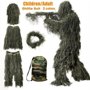3D Tactical Camouflage Leaf Clothes Forest Hunting Ghillie Suit Woodland Outdoor