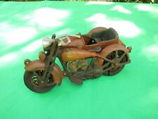 Vintage Hubley Cast Iron Motorcycle With Sidecar Toy With Rare Double Headlight