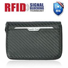 Men's RFID Blocking Carbon Fiber Leather Zipper Bifold Credit Card Holder Wallet